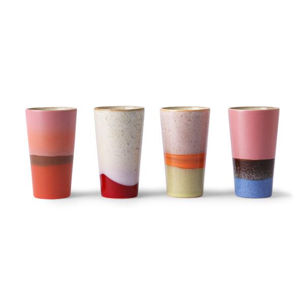 Set de 4 Tasse à Latte en céramique année 70