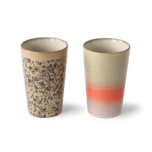 Set de 2 Mug à Thé en céramique année 70